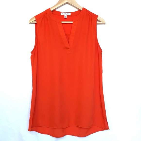 Chaus Tops - CHAUS Red-Orange Sleeveless Top Size S